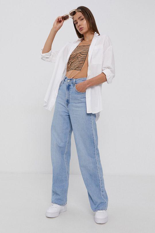 Jacqueline de Yong - T-shirt bawełniany piaskowy