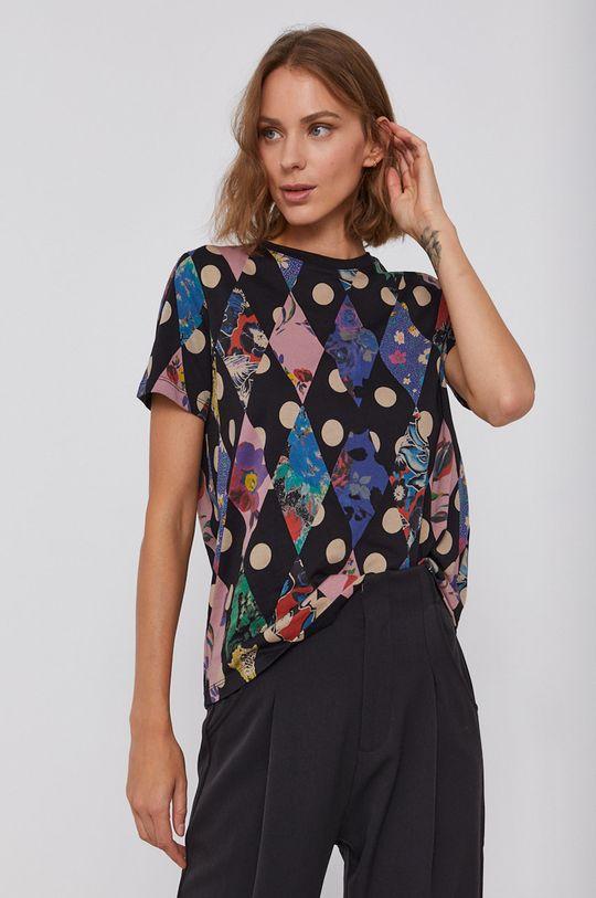 čierna Desigual - Bavlnené tričko Dámsky