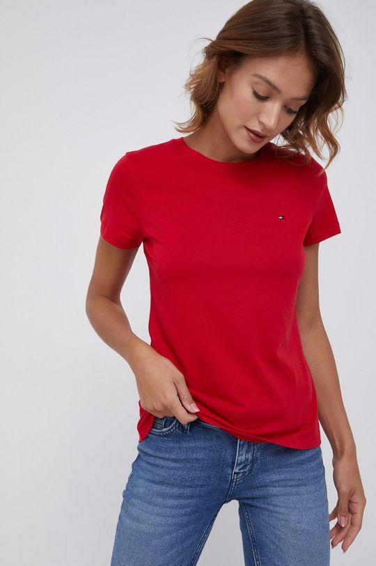 czerwony Tommy Hilfiger - T-shirt bawełniany Damski