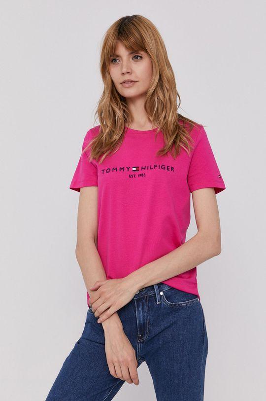 fuksja Tommy Hilfiger - T-shirt Damski