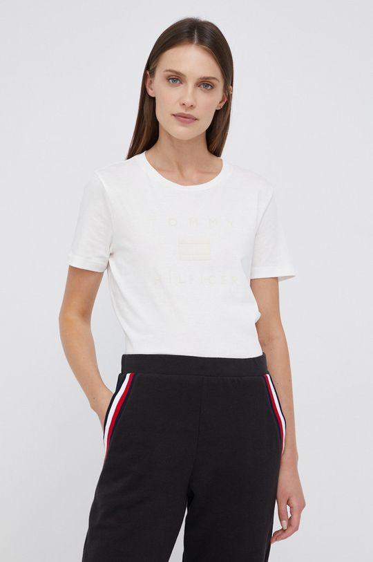 kremowy Tommy Hilfiger - T-shirt bawełniany Damski