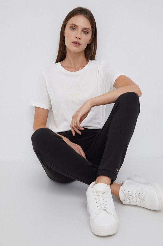 Tommy Hilfiger - T-shirt bawełniany kremowy