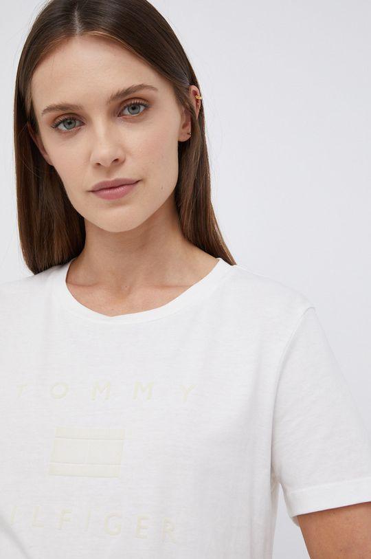 kremowy Tommy Hilfiger - T-shirt bawełniany