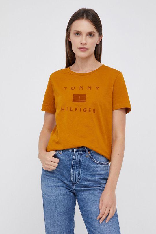 pomarańczowy Tommy Hilfiger - T-shirt bawełniany Damski