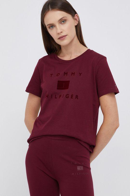 kasztanowy Tommy Hilfiger - T-shirt bawełniany Damski