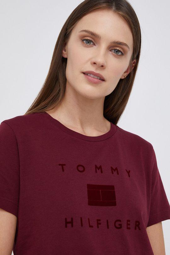 kasztanowy Tommy Hilfiger - T-shirt bawełniany