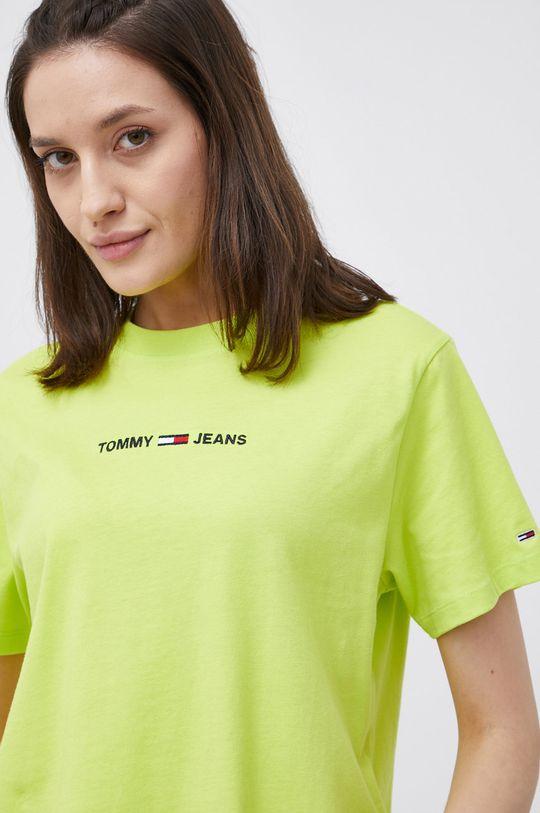 żółto - zielony Tommy Jeans - T-shirt bawełniany Damski