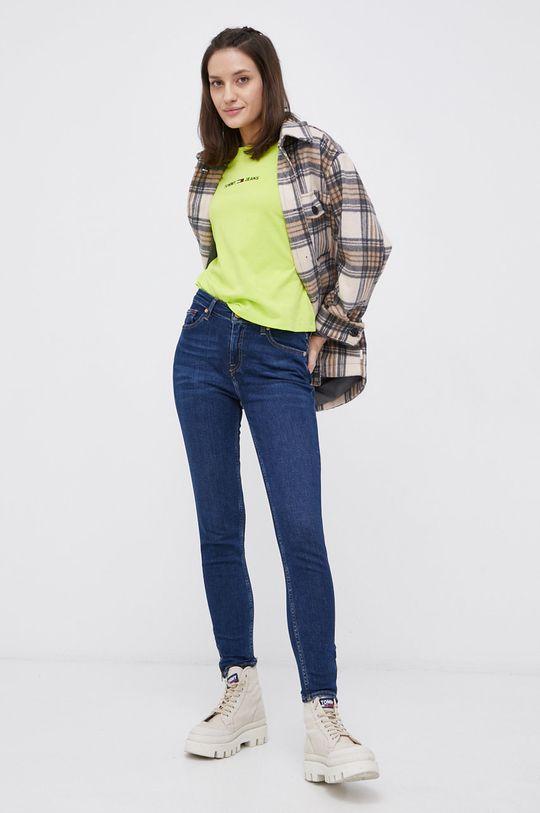 Tommy Jeans - T-shirt bawełniany żółto - zielony