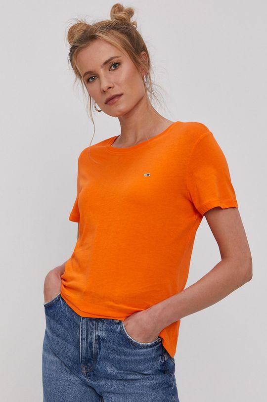 pomarańczowy Tommy Jeans - T-shirt Damski
