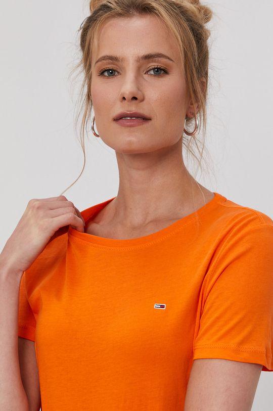 Tommy Jeans - T-shirt pomarańczowy
