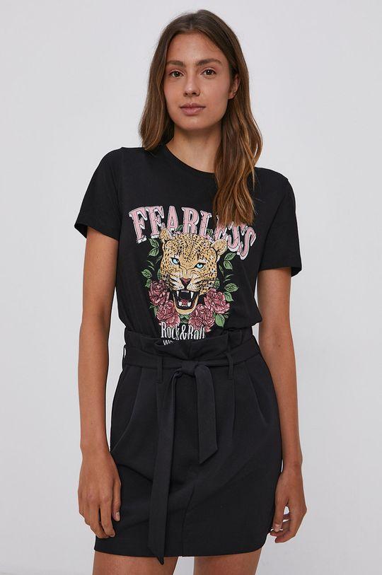 czarny Vila - T-shirt bawełniany Damski
