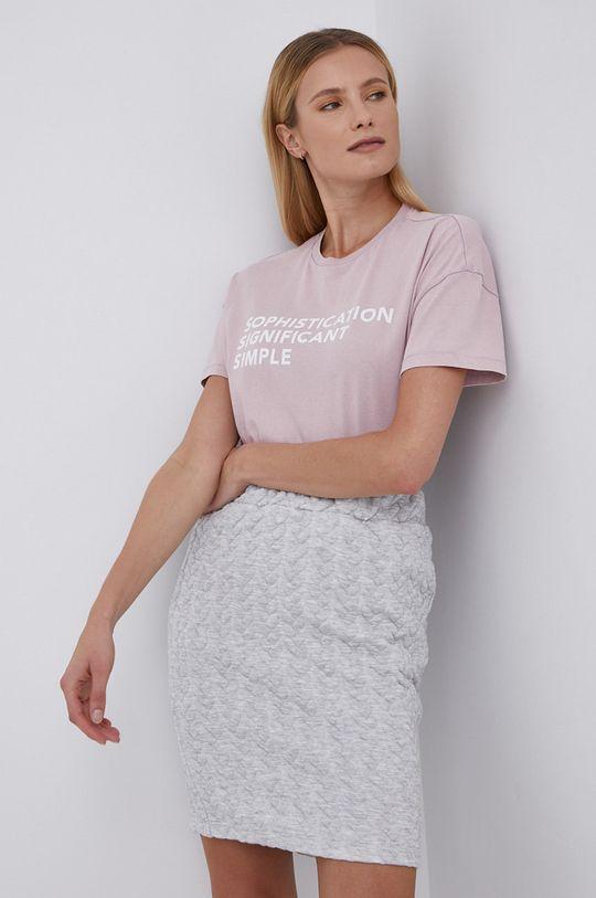 Only - T-shirt bawełniany różowy