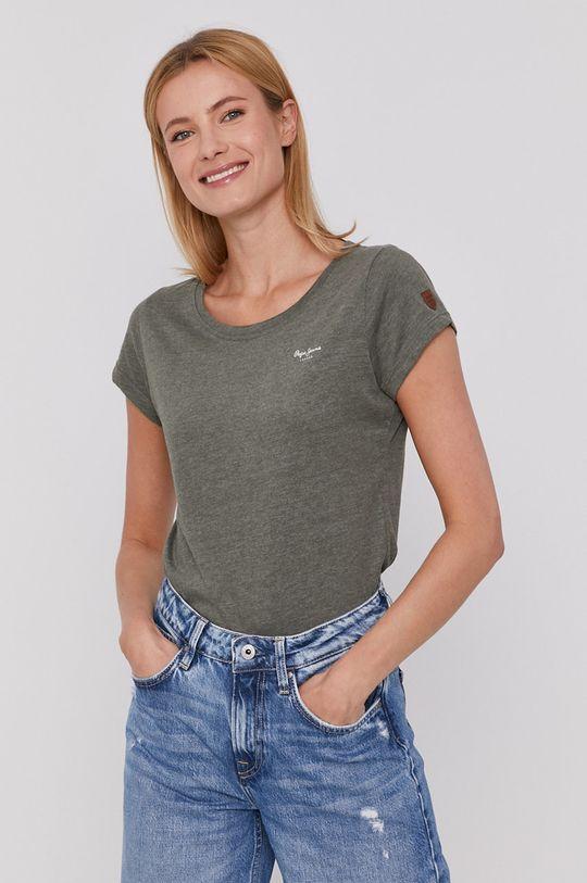 tmavě zelená Pepe Jeans - Tričko Marjorie Dámský