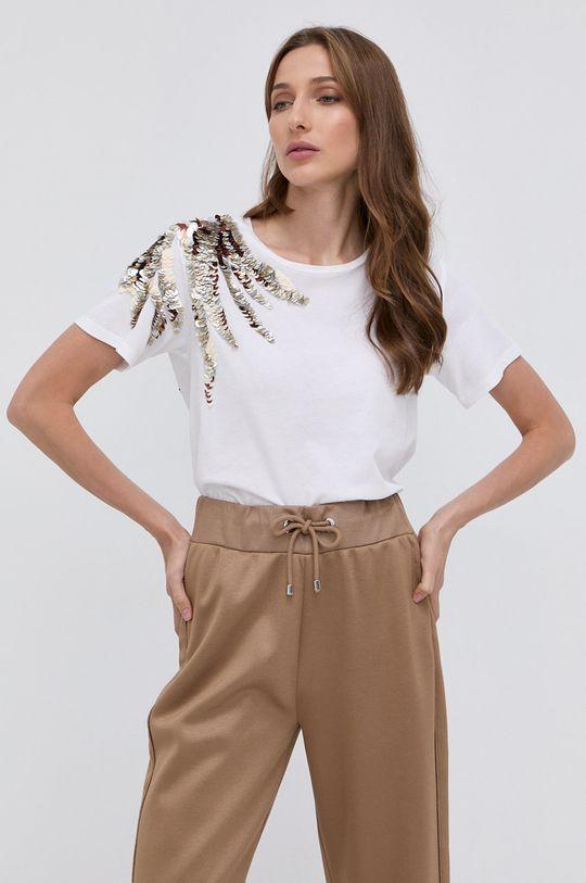 Patrizia Pepe - T-shirt bawełniany biały
