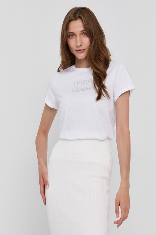 biały Hugo - T-shirt bawełniany Damski