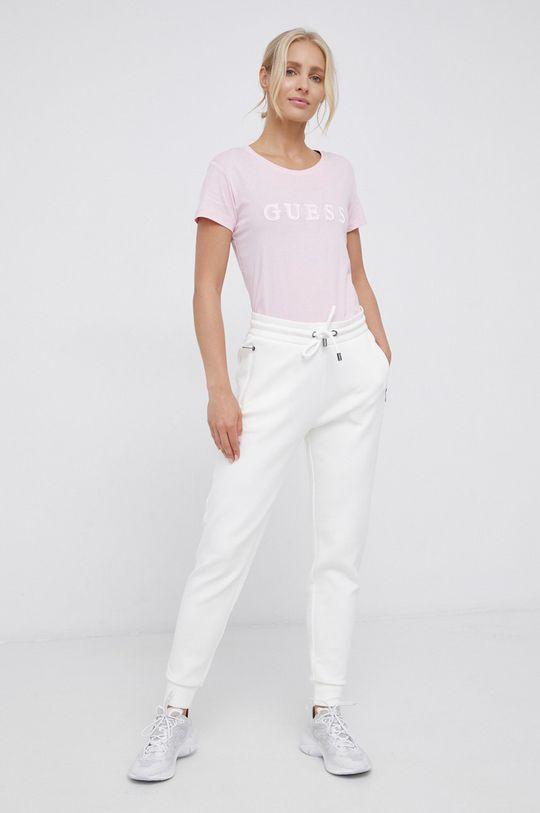 Guess - Tricou din bumbac roz