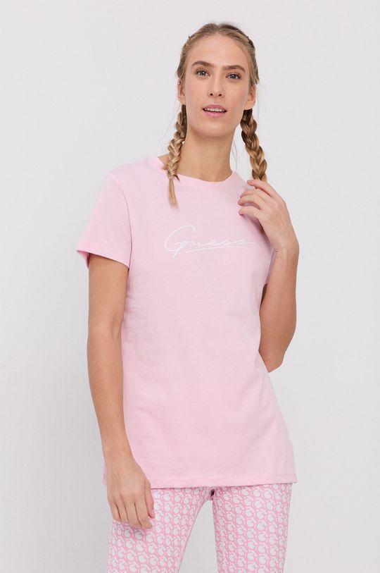 różowy Guess - T-shirt bawełniany Damski