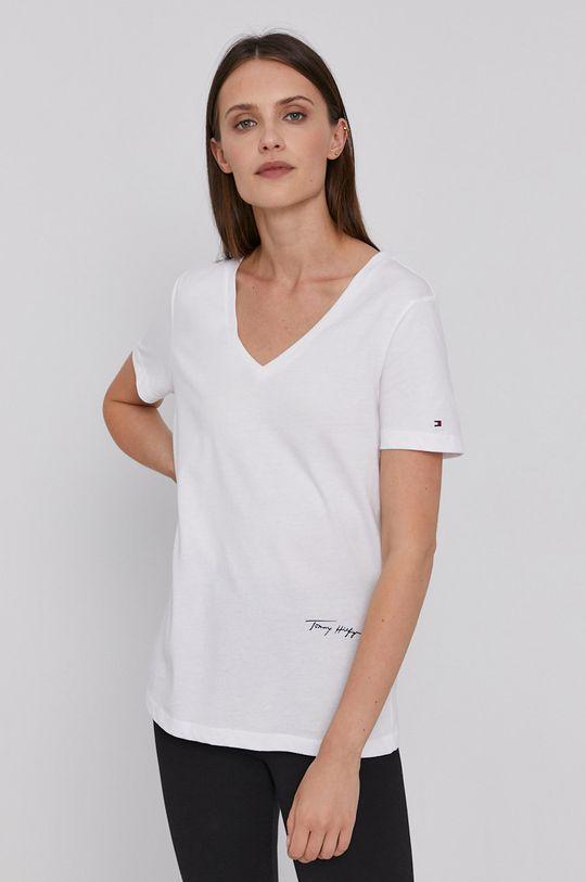 biały Tommy Hilfiger - T-shirt bawełniany Damski