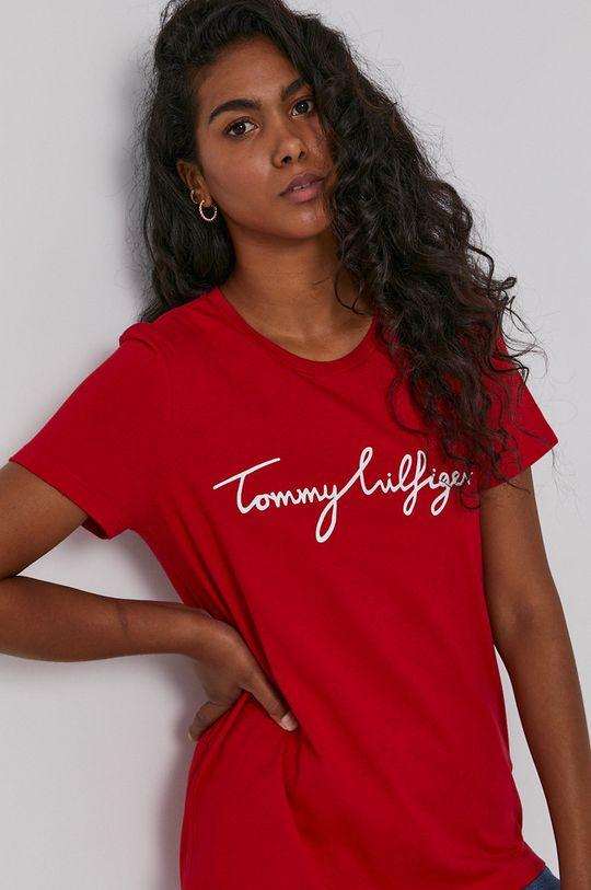 czerwony Tommy Hilfiger - T-shirt bawełniany