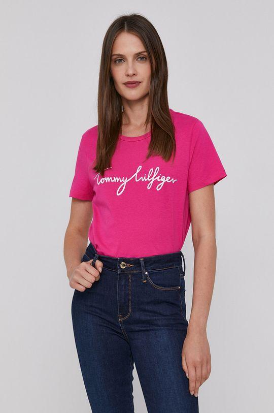 fuksja Tommy Hilfiger - T-shirt bawełniany Damski