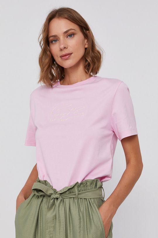 ružová Lacoste - Bavlnené tričko Dámsky