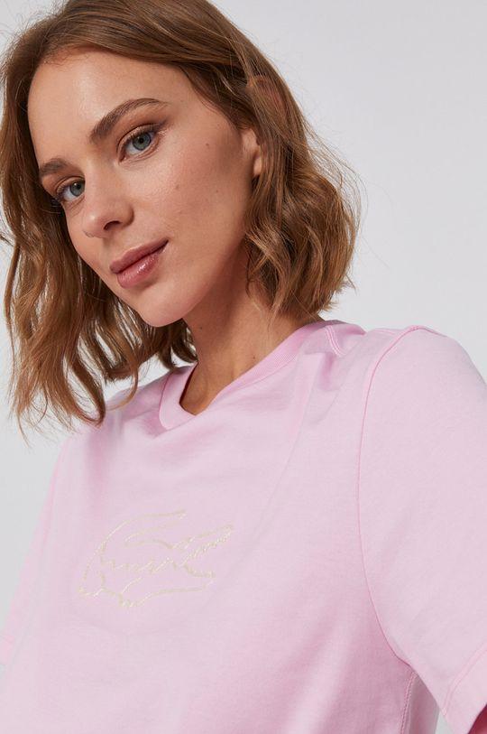 ružová Lacoste - Bavlnené tričko