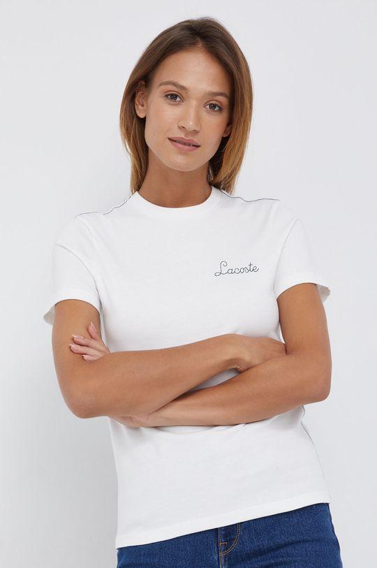biały Lacoste - T-shirt bawełniany Damski