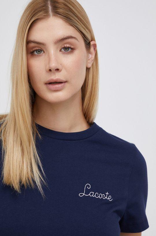 granatowy Lacoste - T-shirt bawełniany