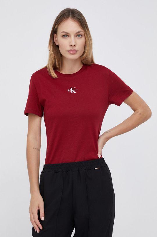 kasztanowy Calvin Klein Jeans - T-shirt bawełniany Damski