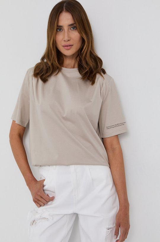 beżowy Miss Sixty - T-shirt bawełniany Damski