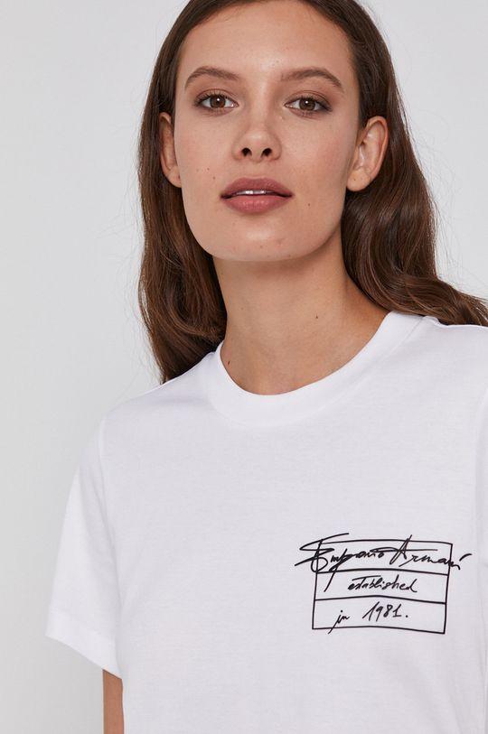 biały Emporio Armani - T-shirt bawełniany