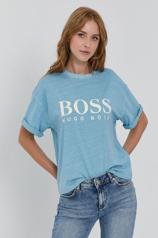 svetlomodrá Boss - Bavlnené tričko Dámsky