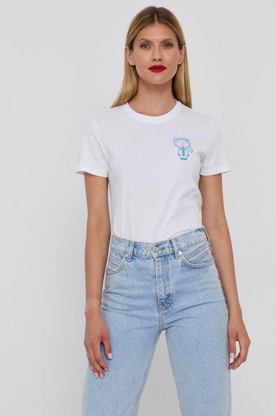 bílá Karl Lagerfeld - Bavlněné tričko Dámský