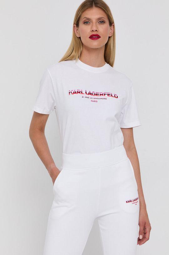 biały Karl Lagerfeld - T-shirt bawełniany Damski