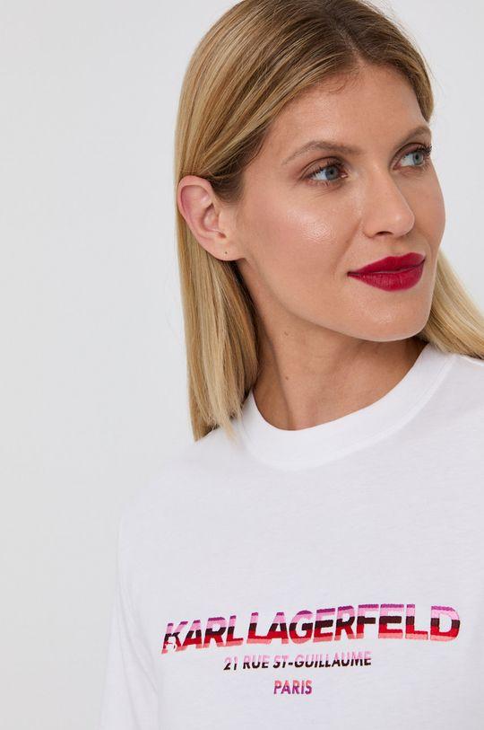 biały Karl Lagerfeld - T-shirt bawełniany