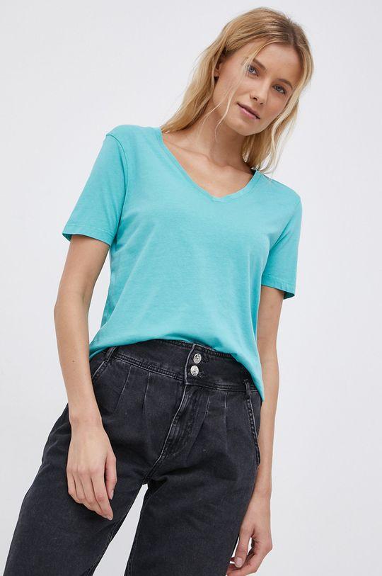 tyrkysová Jacqueline de Yong - Bavlnené tričko