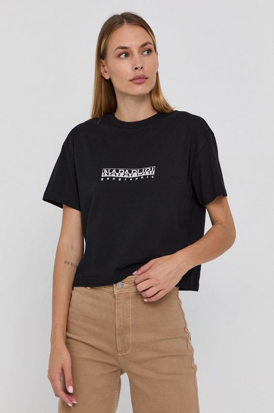 czarny Napapijri - T-shirt bawełniany Damski