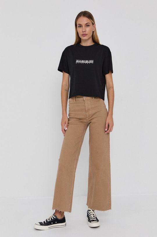 Napapijri - T-shirt bawełniany czarny