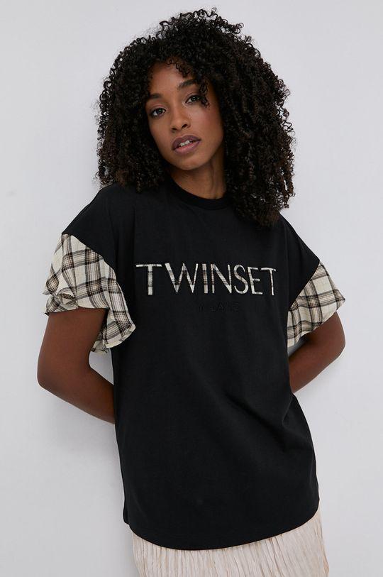 černá Twinset - Tričko ze směsi vlny Dámský