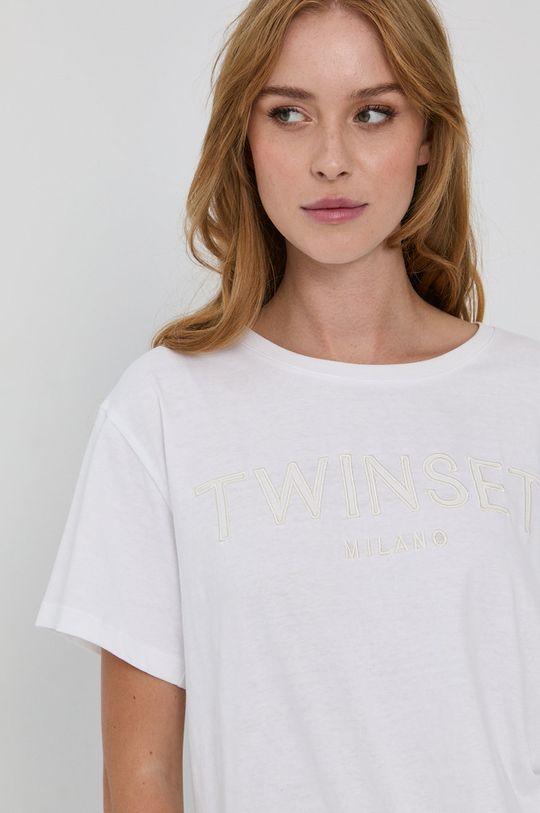 biały Twinset - T-shirt bawełniany