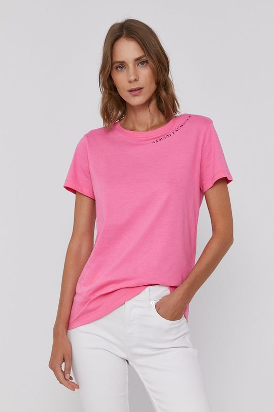 różowy Armani Exchange - T-shirt bawełniany Damski
