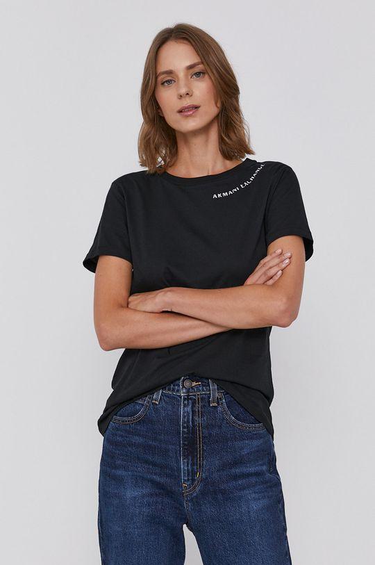 czarny Armani Exchange - T-shirt bawełniany Damski