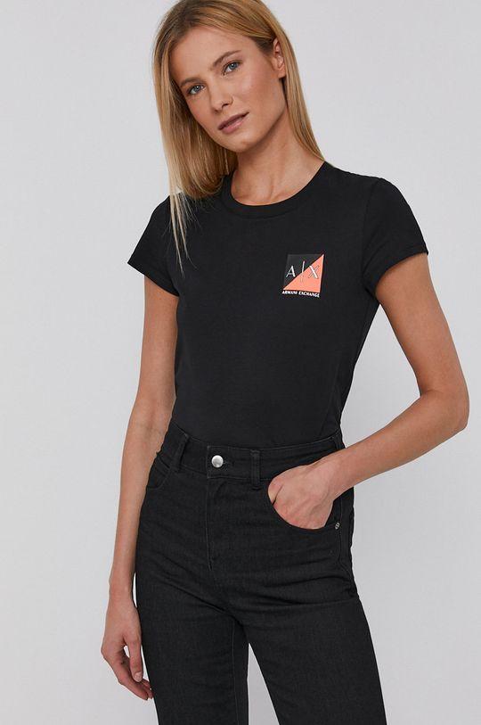 černá Armani Exchange - Bavlněné tričko Dámský