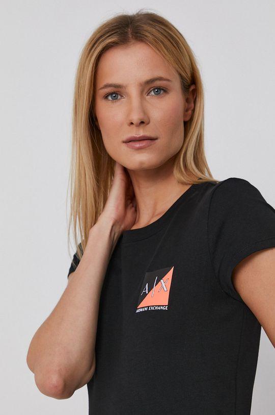 černá Armani Exchange - Bavlněné tričko