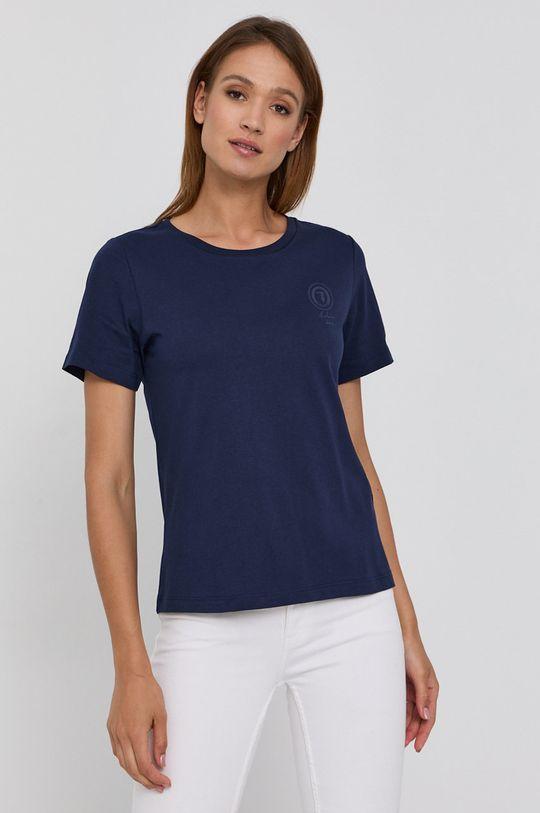granatowy Trussardi - T-shirt bawełniany Damski