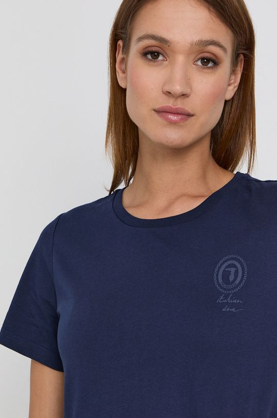 granatowy Trussardi - T-shirt bawełniany
