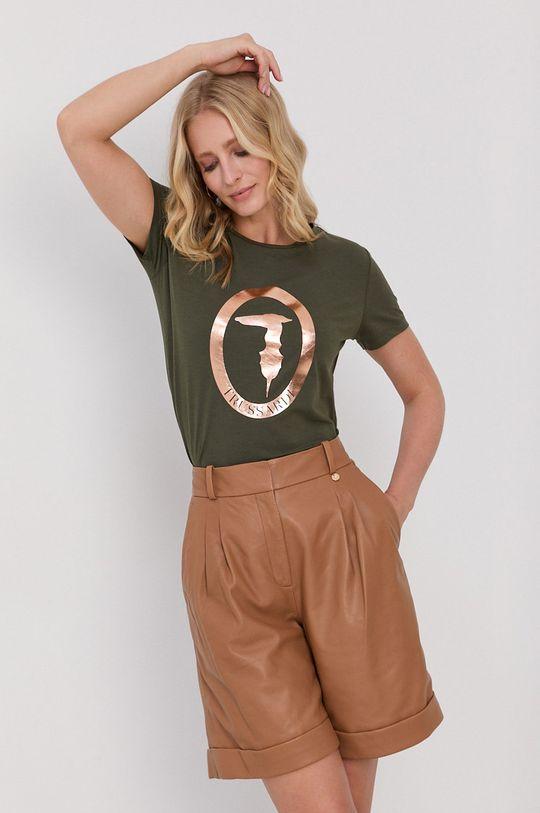 Trussardi - Tričko s dlouhým rukávem olivová