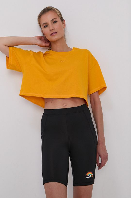 żółty Reebok - T-shirt bawełniany Damski