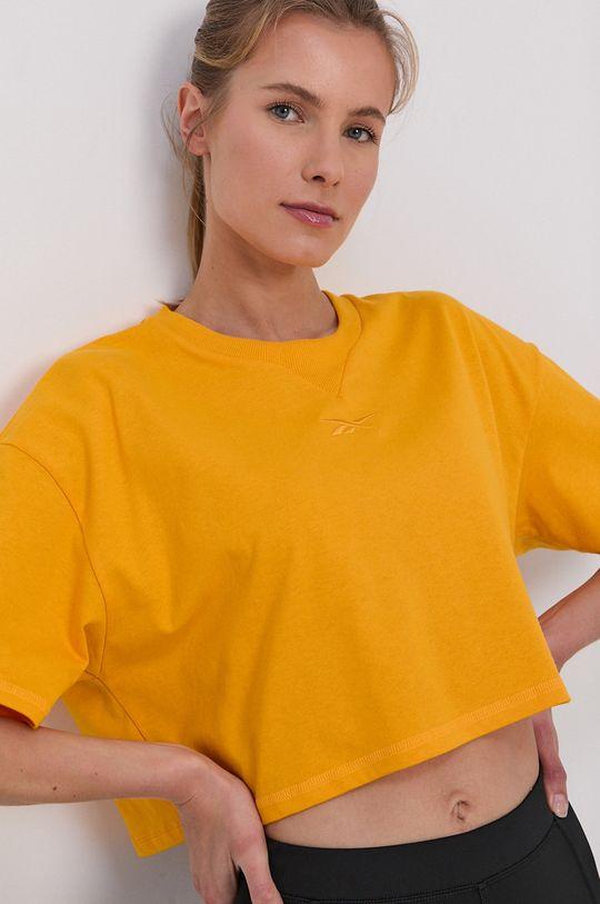 żółty Reebok - T-shirt bawełniany