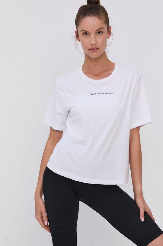 bílá EA7 Emporio Armani - Bavlněné tričko Dámský